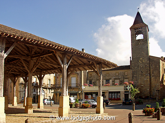Medieval covered market in Belves, a Bastide in France